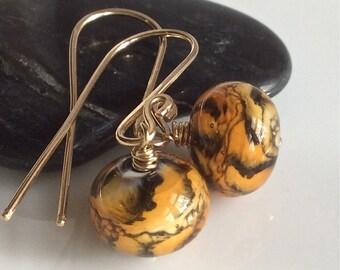 Animal Print Glass Earrings  Gold Filled Earrings   Lampwork Glass