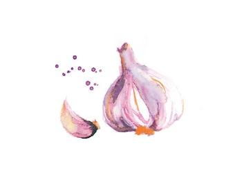 Garlic Print, Food Art, Food Illustration, Watercolor Print, Kitchen Art, Garlic Art, Vegetable Watercolor Painting, Kitchen  Decor,Wall Art