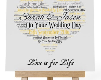 Personalised Love Word Art Wooden Plaque & Wooden Easel Stand -  Your Wedding Day
