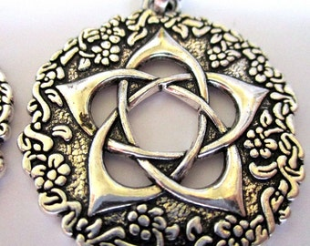 1 Pagan Wicca Viking Enochian Hermetic Pagan Wicca Viking Theme Pendants Pentacle of the Goddess + Bail Solomon Seal