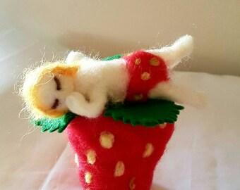 Needle Felted Strawberry Baby