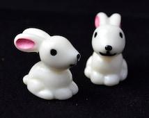 2 PC White Bunny Miniature Garden Plants Terrarium Doll House Ornament Fairy Decoration AZ7987