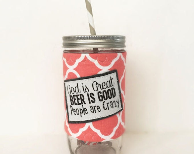 God is Great Mason Jar Tumbler 24oz with Insulated Mason Jar Cozy BPA Free Straw