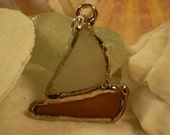 Genuine Sea Glass Sailboat Pendant