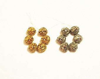 6 Pcs. Plated Lion Beads