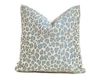 Blue Cheetah Print Pillow Cover-Leopard Print Pillow Cover-Animal Print Pillow Cover- Sky Blue Cheetah Print Pillow Cover