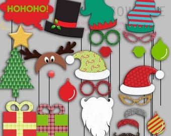 Christmas Party Photo Booth Props, Santa, Elf, Snowman, Rudolf Party Photo Props