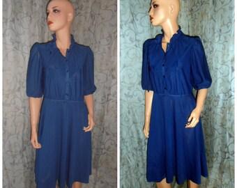 Vintage Dress, Blue Dress, Sheer Dress, Light Dress, Size 12 dress, 70s dress, Evening Dress, Summer Dress, day Dress, Epsteam