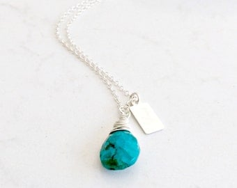 turquoise gemstone necklace turquoise jewelry turquoise pendant blue chrysoscolla necklace engraved love tag 925 sterling silver gemstone