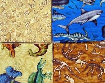 Jurassic Jungle Dinosaurs  Fabric 4 Fat Quarter Bundle From Quilting Treasures 558