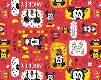 Disney Fabric Mickey Mouse Fabric in Ruby From Camelot