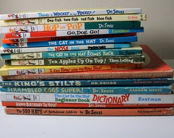 set of 16 dr seuss books mixed lot new old antiques cat in the hat wocket pocket go apples on top read eyes bartholomew oobleck stilts