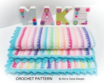 ICE CREAM Blanket Crochet Pattern Crochet Baby Blanket Pattern Striped blanket pattern - Easy Crochet Blanket Pattern - With Photo tutorial
