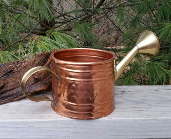 Hammered Copper Brass Watering Can Decorative By