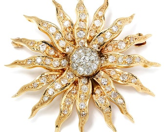 Vintage Art Nouveau Sun Brooch Pin with Old Mine Cut Diamonds 14K Yellow Gold 1.25ctw