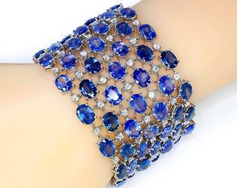 "Unique Sapphire Mesh Bracelet with Diamonds in 18kt White Gold 120.00ctw 7.5"" x 1.75"""