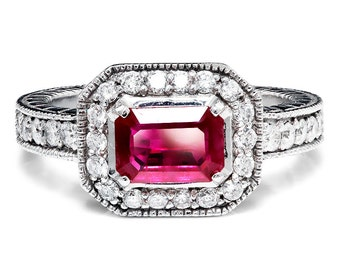 Sideways Set Ruby & Diamond Halo Style Engagement Ring 14K White Gold 1.50ctw
