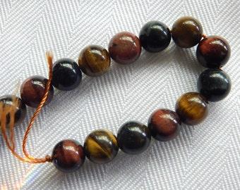 Assorted Tigereye Beads - 8MM - 7 Inch Strand - 18 Beads