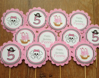 Pink Pirate Personalised Cupcake Toppers ~ Girl Pirate Birthday Party