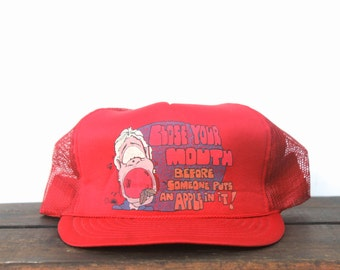 Vintage Weird Humor Funny Strange Shut Your Mouth or Someone Will Put an Apple in it Trucker Hat Snapback Baseball Cap