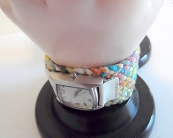 Cute Braided leather & cording watch band with watch