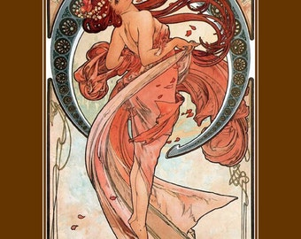"11x14"" canvas art print~ Poster paper. The Dance, by Alphonse Mucha, 1898"