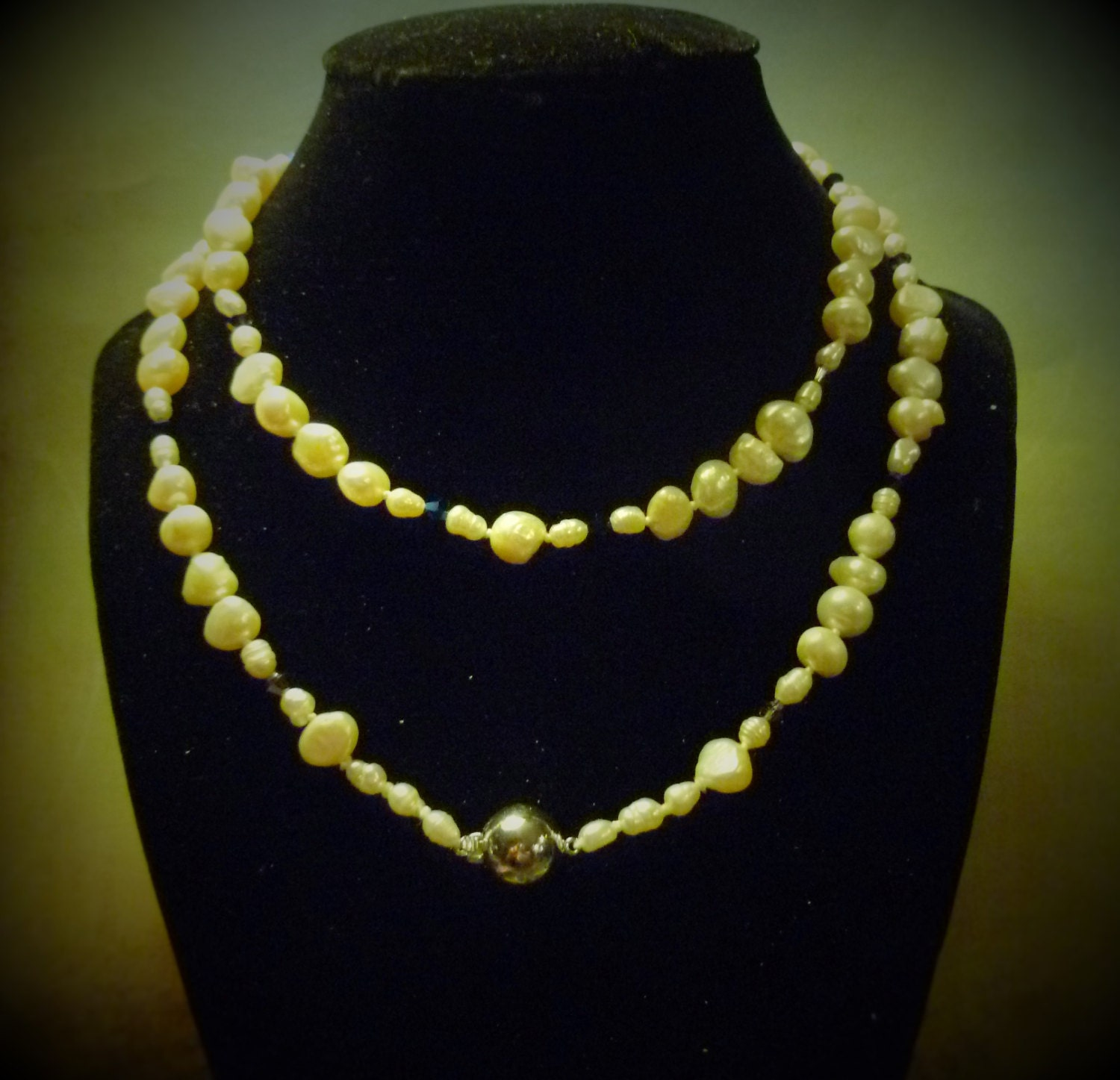 Wedding Day Pearls 32 Inch Necklace 9.25 Silver Clasp Hand Strung White Pearls with Swarovski Crystals