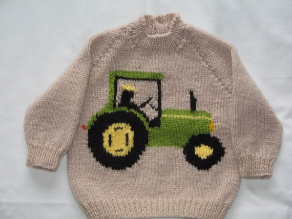 Knitting Pattern Tractor Jumper : Hand Knitted Tractor Jumper Chest 22/56cm