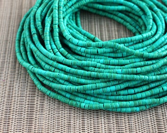 3-4mm Turquoise Coconut Shell Heishi Beads - Dyed and Waxed - 23 inch strand - 4AH3-1