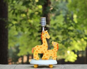 Vintage Nursery Originals Giraffe Lamp / Giraffe Nursery Lamp / Wooden Giraffe Lamp / Mama and Baby Giraffe Lamp / Giraffe Children's Lamp