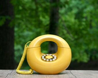 Vintage Yellow Sculptura Push-Button Donut Telephone /DecoTel CirclPhone Yellow Phone / Yellow Doughnut Phone / Sculptura Telephone