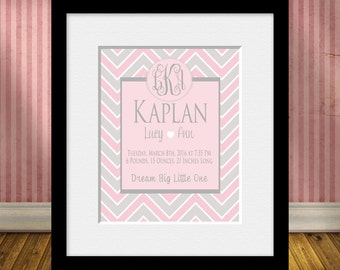 Monogrammed Birth Statistics Wall Print, Chevron Nursery Art, New Baby Gift, Monogrammed Wall Art, Birth Announcement