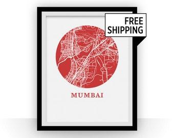 Mumbai Map Print - City Map Poster