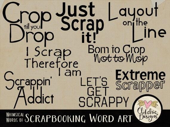 Scrapbooking Digital Scrapbook Word art Clip Art & Card Making - Scrapbook Typography WordArt Overlays