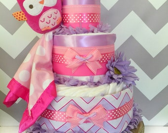READY TO SHIP Owl Diaper Cake, Pink and Lavender Baby Shower Gift, Owl Baby Shower Decoration