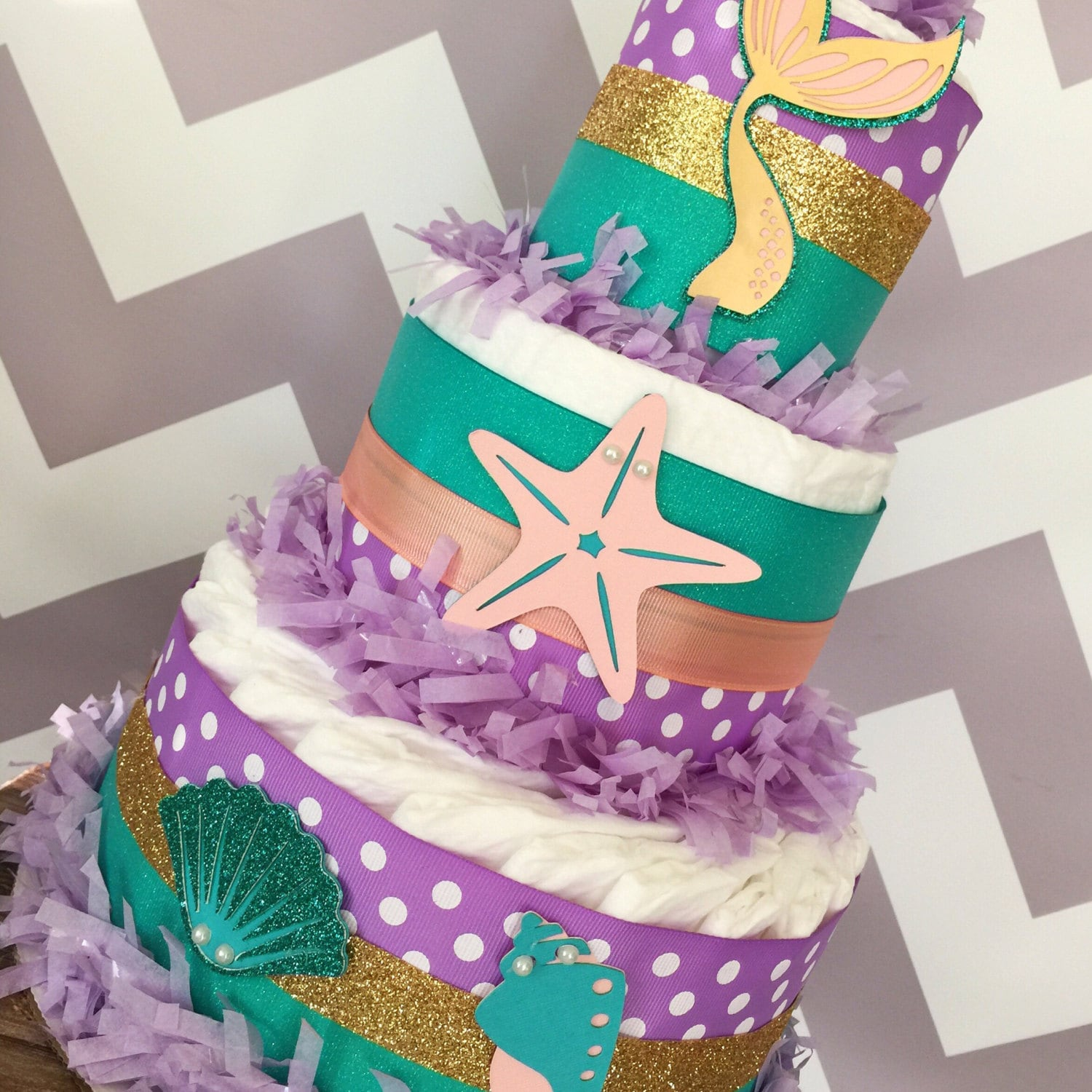 Mermaid Diaper Cake Under the Sea Baby Shower Centerpiece