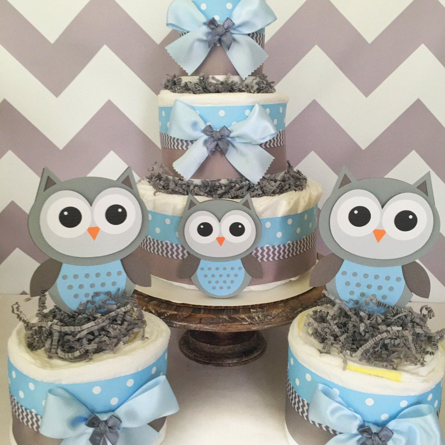 Set of 3 Owl Diaper Cake Centerpieces in Blue and Gray Owl Baby
