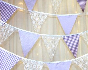 Pastel Lilac and lace bunting with dotty, gingham flags & white lace ideal for weddings baby showers parties, photo shoots various lengths