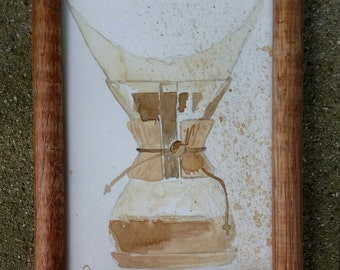 "Chemex Coffee Painting - 5""x7"" - framed"