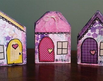 Set of Wood Block Houses; Whimsical Cottage Houses; Housewarming Gift; Hostess Gift; Altered Wood Block