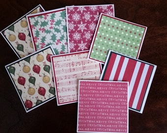 """Christmas Mini Note Cards; 3"""" x 3"""" Cards; Stationery Set; Gift Enclosures; Christmas Theme"""