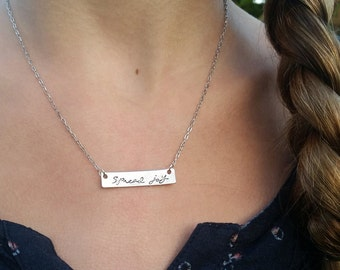 Hand Stamped Jewelry-Personalized necklace-Bar Necklace-Child's Rectangle Bar Necklace-Spread joy