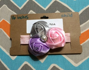 Child/Teen Sized Satin Roses Headband w/ Pearl Center (16 inches)