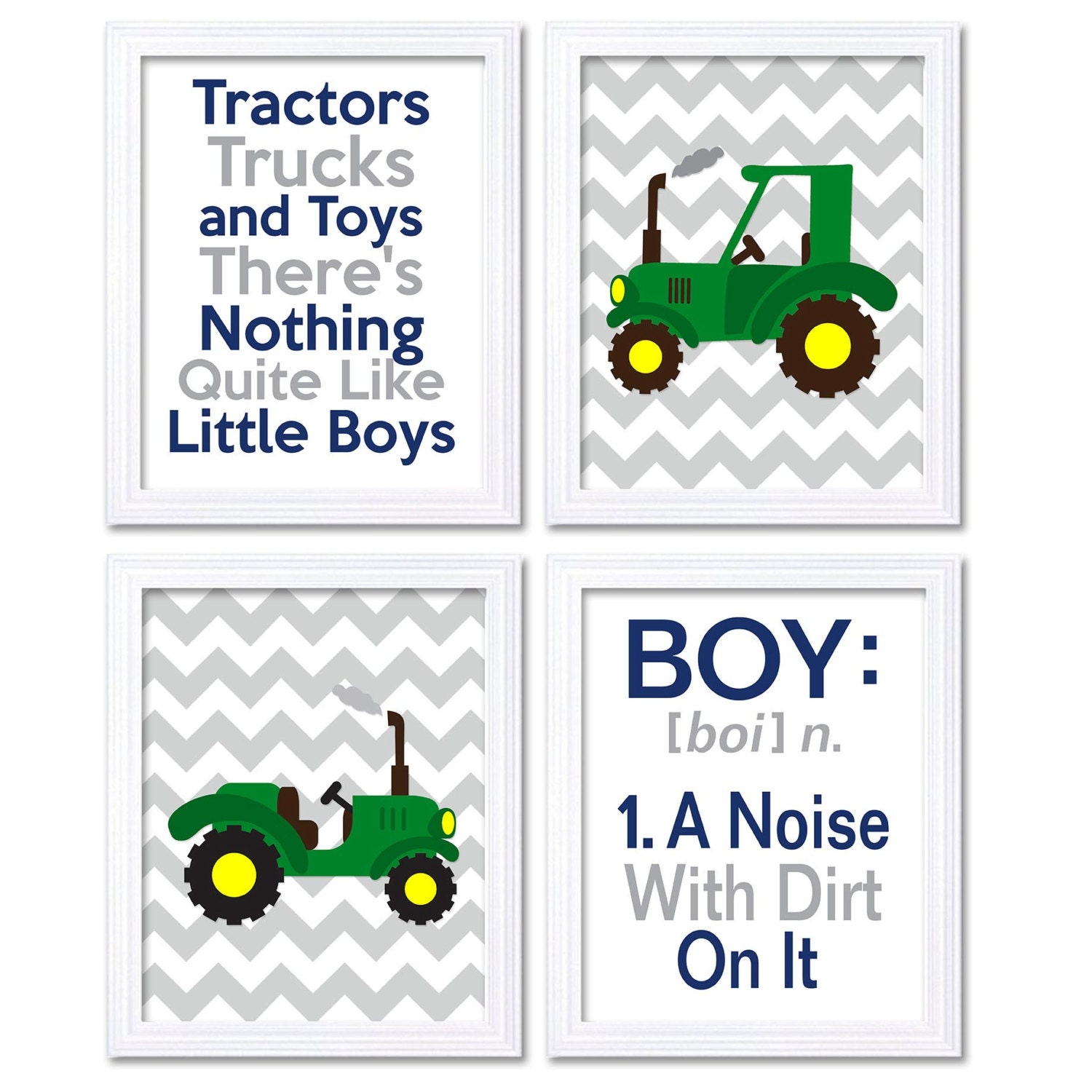Nursery Art Tractors Trucks Toys Theres Nothing Quite Like Little Boys Set of 4 Prints Green Yellow