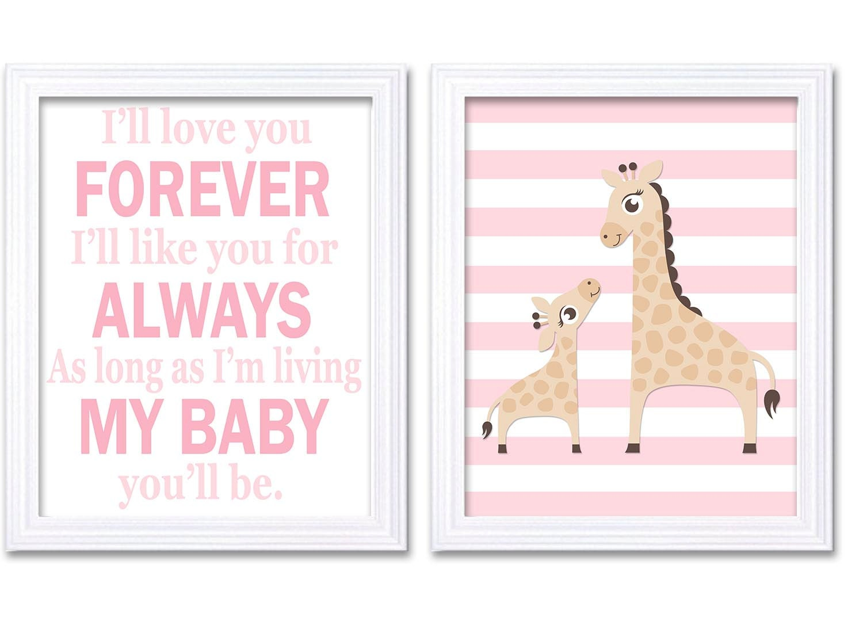 Giraffe Nursery Art Set of 2 Prints Girl Pink Ill love your Forever Nursery Wall Decor Children Kids
