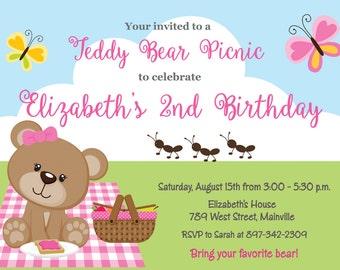 Teddy Bear Picnic Birthday Party Invitation - Digital or Printed