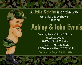 Army, Camo, Camouflage, Soldier, Military, Baby Shower Invitation, ANY SKIN TONE - Printed or Digital