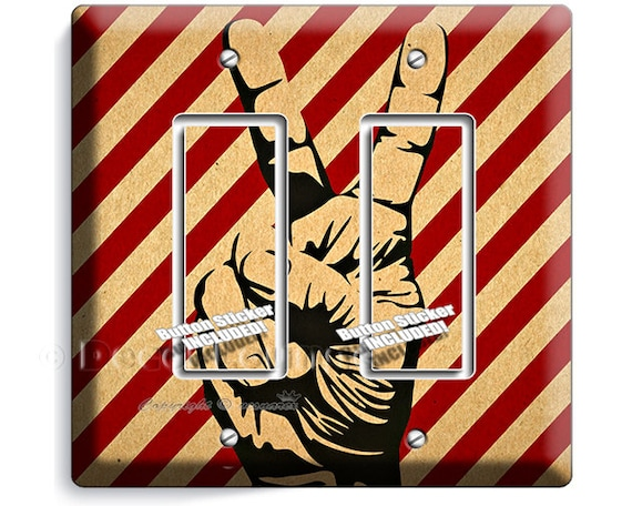 Peace Sign Bedroom Accessories: Peace Victory Sign Fingers Up Cool Hippie Hand Double GFI