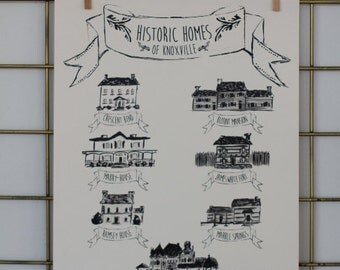 Knoxville Print, Historic Homes Illustration, 11x14 in