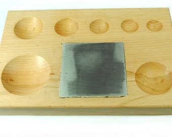 Proops Wooden Doming Dapping Block with Steel Bench Block, Jewellery Making Tool. (J1191) Free UK Postage